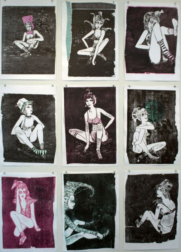 Wall hang, Woodcuts 2012